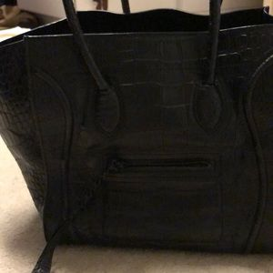 Celine Phantom Luggage Black Leather Embossed Croc